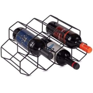 KirinRen Black Metal Freestanding Wine Rack