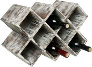 MyGift Countertop Rustic Torched Wood Wine Rack