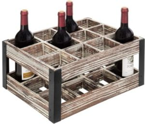 MyGift Rustic Metal and Wood Crate 12-bottleTabletop Wine Rack