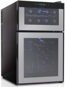 NutriChef 24 Bottle Dual Zone Thermoelectric Wine Cooler